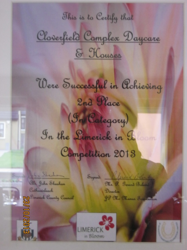 Glin Homes For The Elderly - 2nd Place (in category) in Limerick in Bloom Competition 2013 - Certificate